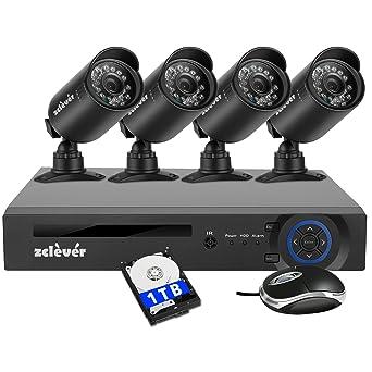 Cámara de Seguridad Zclever CCTV Sistema de Seguridad 8CH 1080N AHD DVR con 4 Cámara de