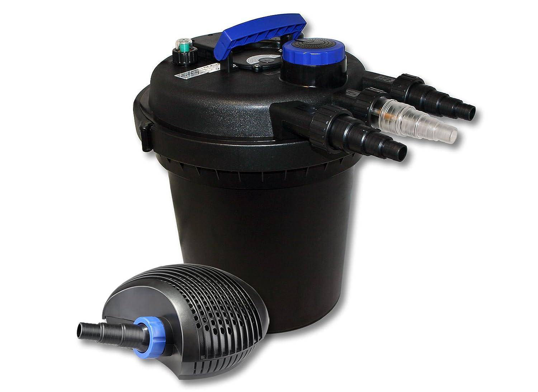 SunSun Kit de filtration de bassin à pression 10000l avec 11W UVC Stérilisateur et 20W éco Pompe