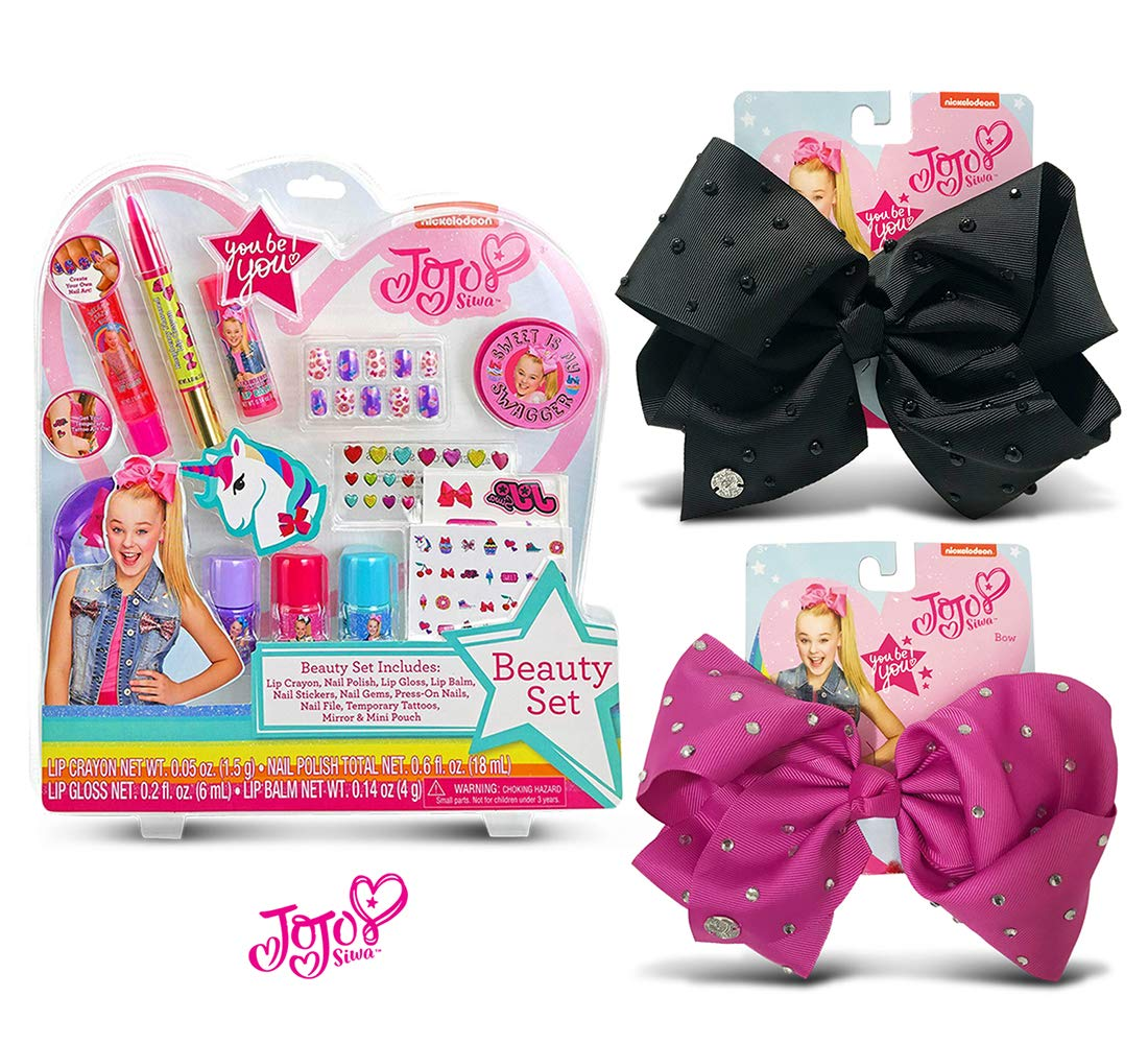 Warp Gadgets Bundle - JoJoSiwa Beauty Cosmetic Set and Black Signature with Pearls and Berry Bows with Rhinestones (3 Items)
