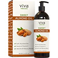 Viva Naturals Sweet Almond Oil, 100% Pure and Hexane Free, Ideal for Skin and Hair DIYs (16 oz)