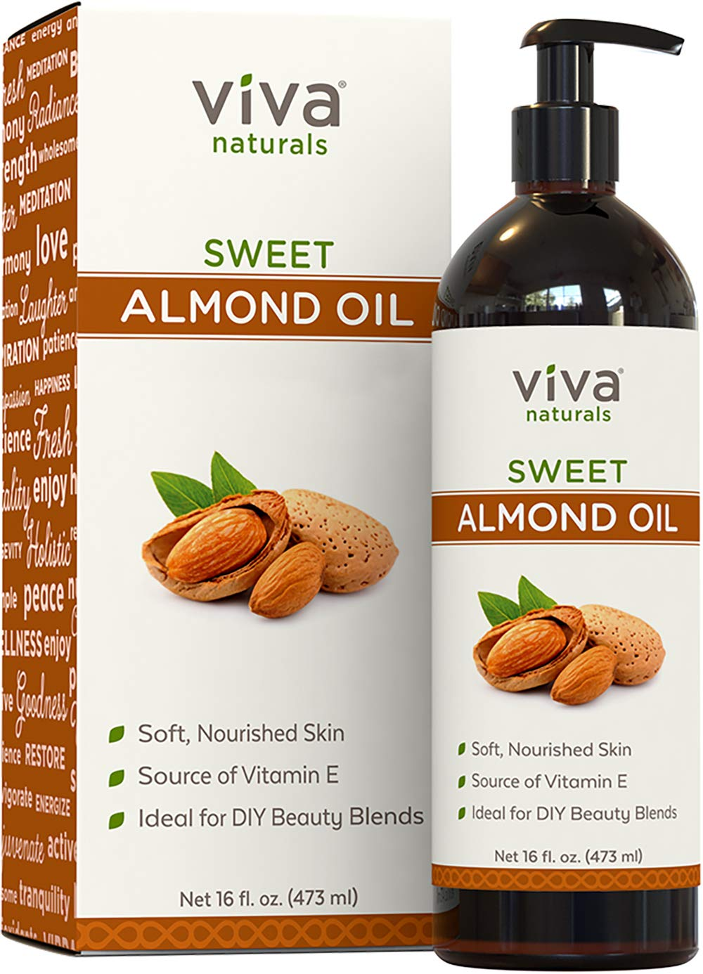 Viva Naturals Sweet Almond Oil 100 Pure and Hexane Free Ideal for Skin and Hair DIYs 16 fl oz
