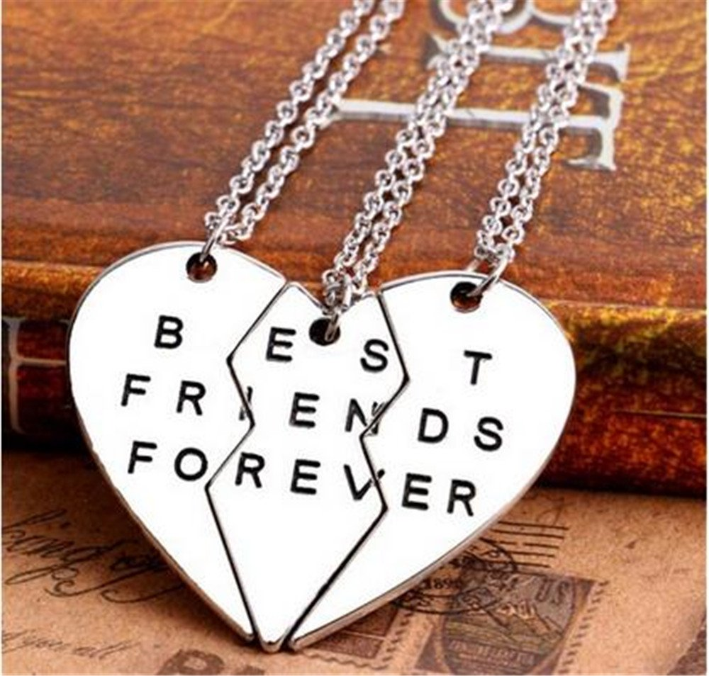 WHC-TECH 3pcs/lot Jewelry Necklaces Best Friend Metal Necklaces Couples Three Part Necklaces