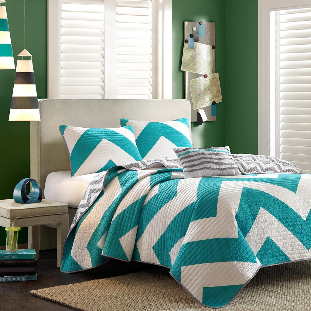 Teal, Gray & White Chevron Twin Quilt, Sham & Toss Pillow (3 Piece Bed In A Bag)