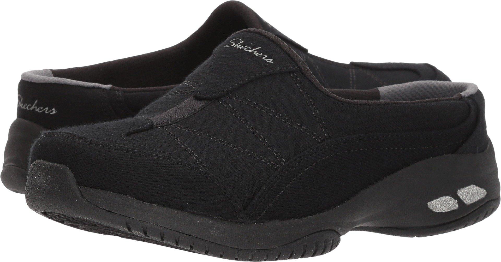Skechers Women's Commute-Carpool-Heathered Deco Stitch Mule, Black/Black, 8 M US