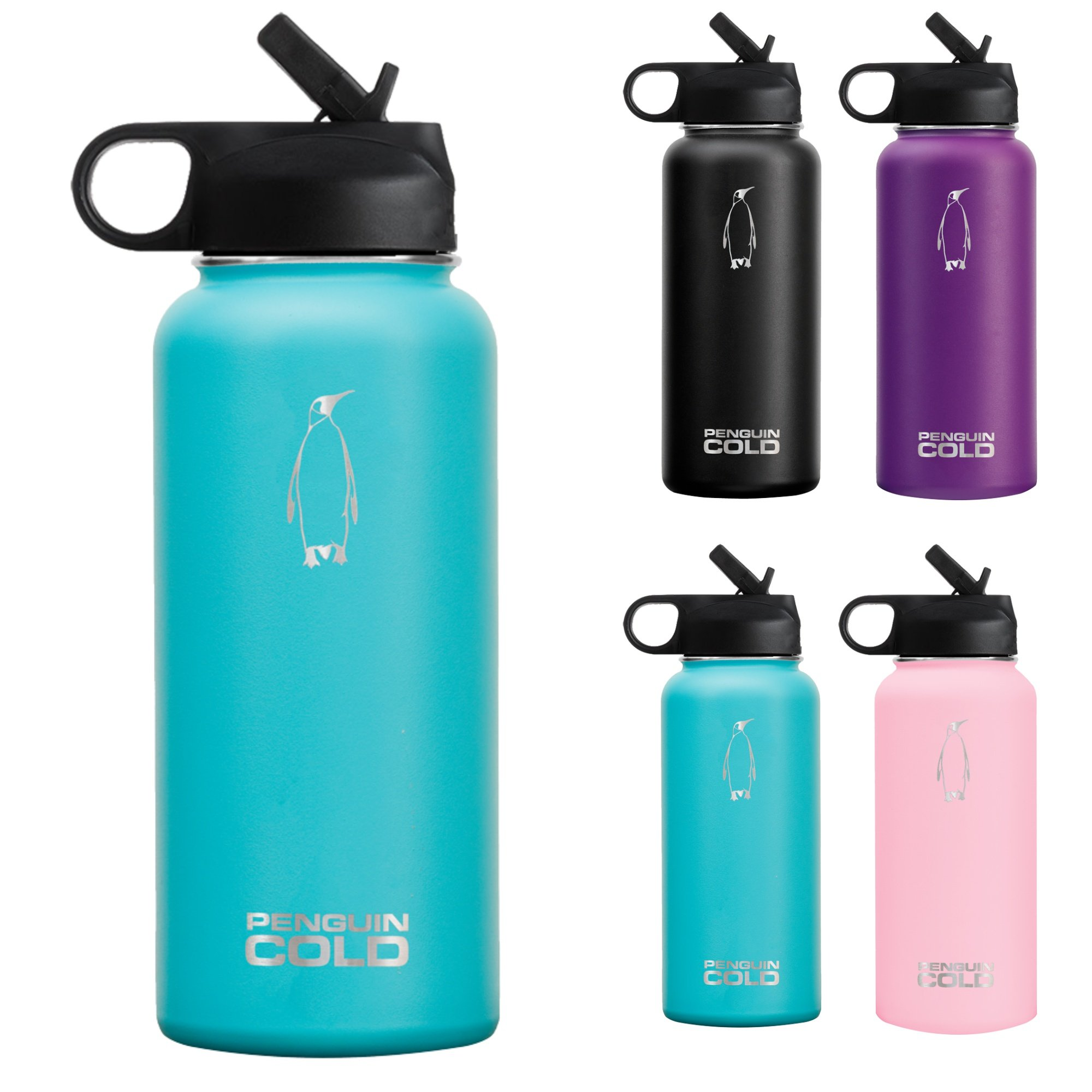 Penguin Cold Insulated Stainless Steel Bottle - 32oz Teal, Wide Mouth Bottle, Straw Lid - BPA-Free