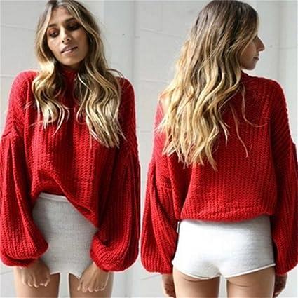 bdb206485c LnLyin Women s Mohair Pullover Sweaters High Collar Lantern Sleeve Warm  Sweater Jumper Knitwear For Women Winter Knitted Jumpers