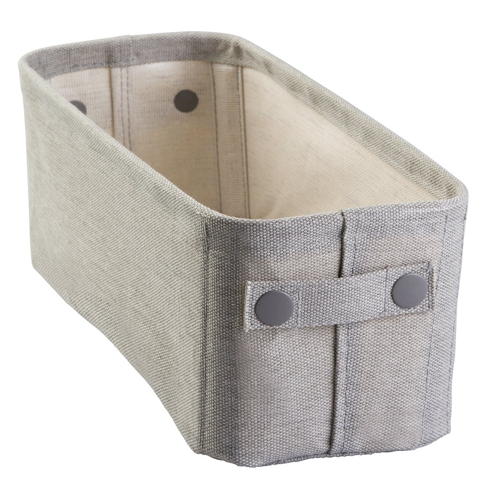 InterDesign Wren Cotton Fabric Bathroom Storage Bin for Magazines, Toilet Paper, Bath Towels - Small, Light Gray