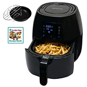 Avalon Bay Digital Air Fryer - Stainless Steel Interior and Digital Display, Includes Airfryer Cookbook and Accessories, 3.7-Quart, AB-Airfryer230B