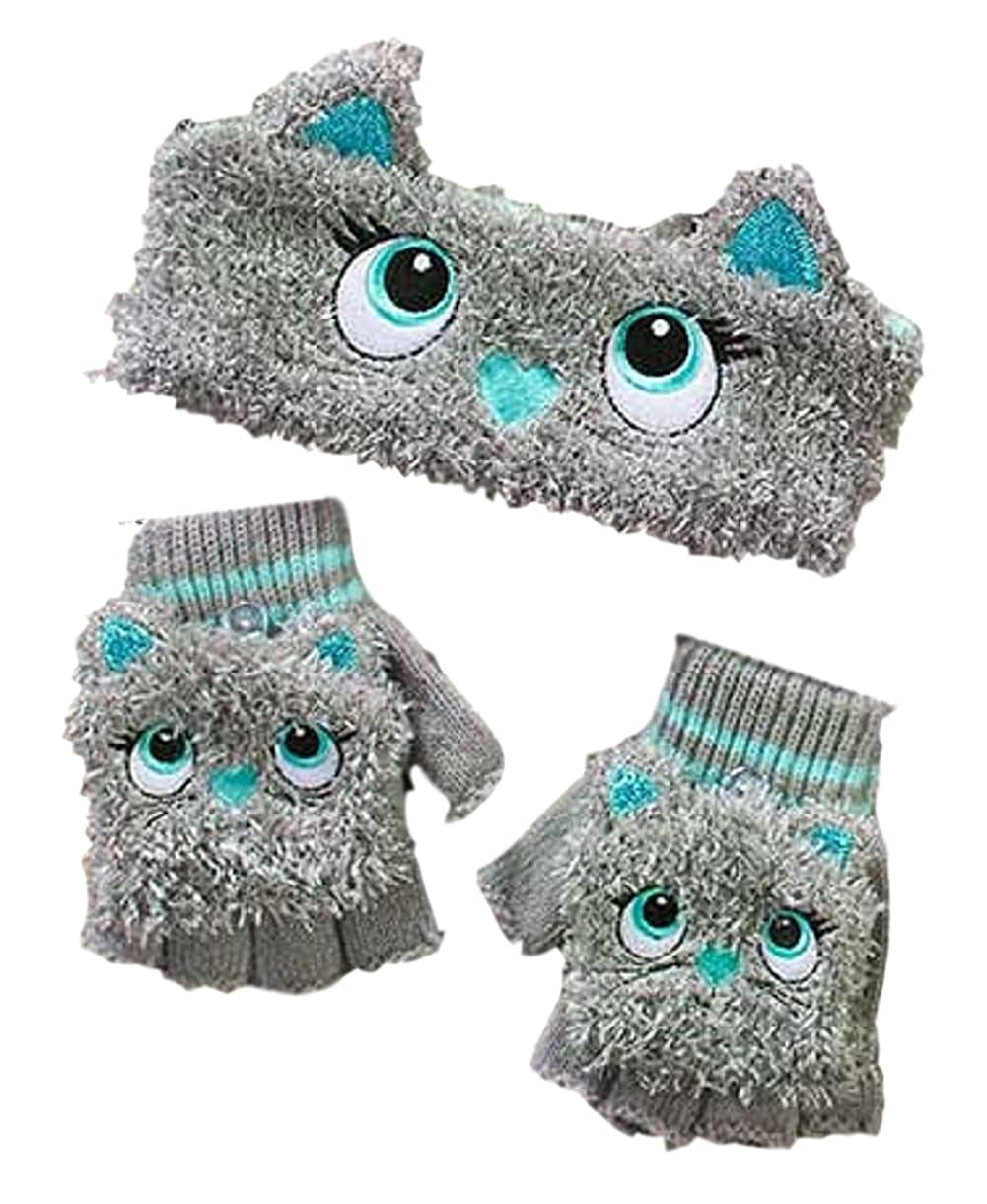 The Lakeside Collection Girls' Critter Headwrap & Flip-Top Glove Set
