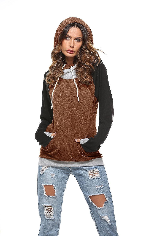 Barlver Women Hoodies Sweatshirts Long Sleeve Drawstring Hooded Casual Pullover Tops with Pockets