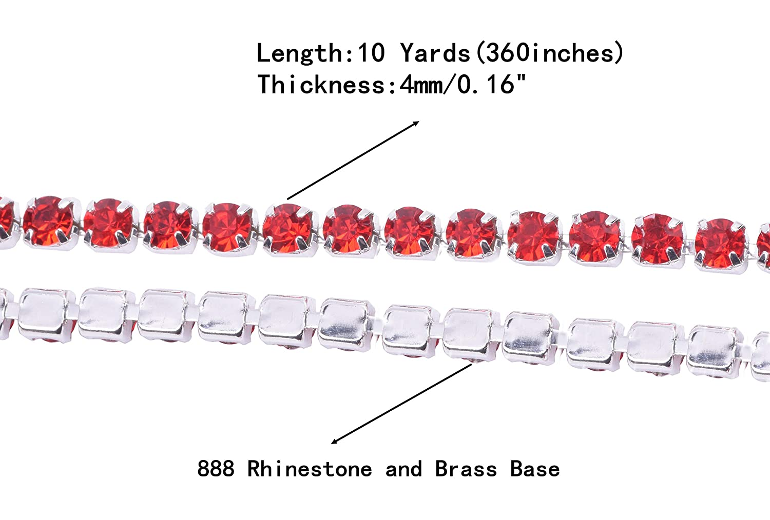 KAOYOO 1 Roll 10 Yards Crystal Rhinestone Close Chain Trim SS16//4.0mm Silver Chain with Light Violet Crystal Beads