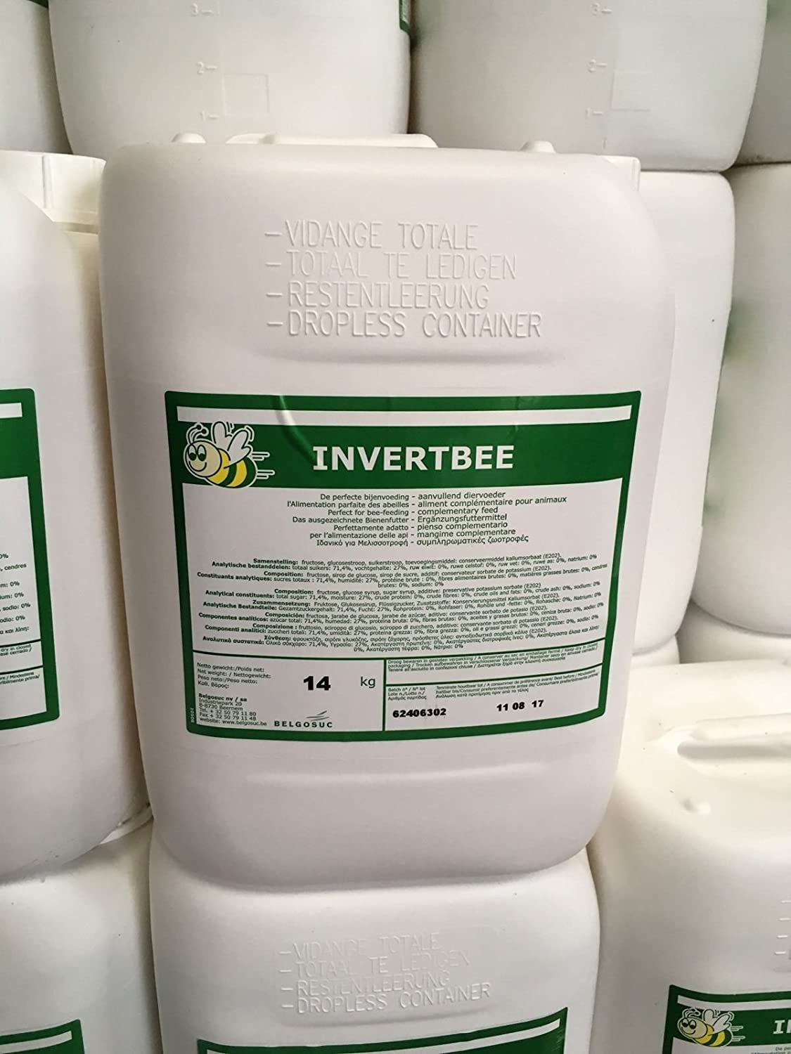 Invertbee Sugar Syrup Jerry Can Bee Food 14Kg Beekeeping beefeed Ready to Use Belgosuc