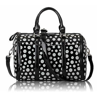 Ladies Designer Handbags Women/'s Patent Polka Dot And Two Tone Tote Bags