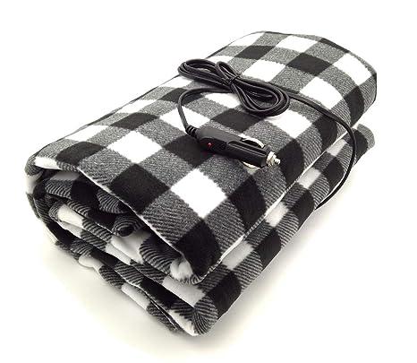 bd827e9459 Amazon.com  7Buy 12V Fleece Car Travel Electric Heated Blanket for Medium  and Small Cars (Black Gray White)  Automotive