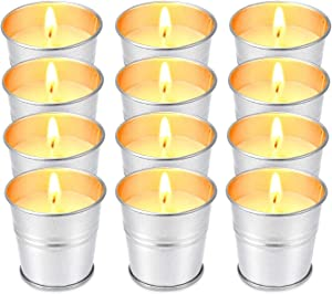 Howemon 12 Pack Citronella Scented Candles,Soy Wax Bucket Candle Seaside Escape, Indoor and Outdoor