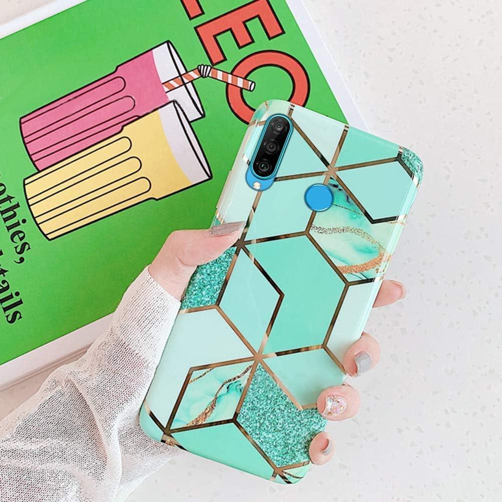 Herbests Kompatibel mit Huawei P30 Lite Marmor H/ülle Matt Weich Silikon Handyh/ülle Stein Marble Bling Glitter Sparkle Transparent Schutzh/ülle Crystal Clear TPU Handytasche,Blau Rosa
