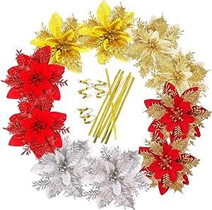 Christmas Decorations Flower Golden Stems Glitter Christmas Tree Ornaments for Xmas Wedding Party Wreath Decor Poinsettia Artificial Christmas Flowers Decor for Christmas Garland Red Silver Crafting