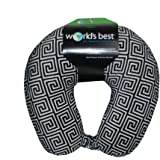 World's Best Feather Soft Microfiber Neck Pillow, Black Greek Key