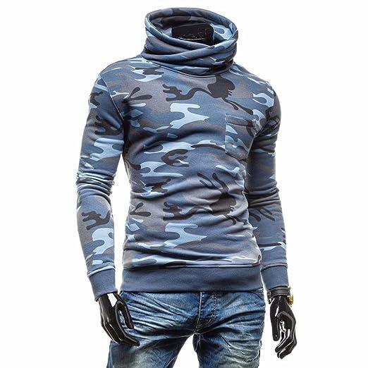 Landfox Chaqueta de camuflaje de los hombres Chaqueta de cuello alto Jersey de manga larga Ropa de abrigo LLlp4