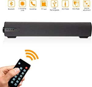 Sound Bars for TV/PC, 2 X 5W Audio Soundbar TV Speakers with Wired & Wireless Bluetooth 4.2, 16.9 Inches Sound Bar with Subwoofer for Home Theater, AUX/RCA Connection/TF Card and Remote Control
