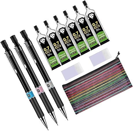 Lvcky - Juego de 12 portaminas de 0,7 mm HB, 180 piezas de recambios de plomo, 2 gomas de borrar con estuche para dibujar, escribir, manualidades, dibujo artístico, firma: Amazon.es: Hogar