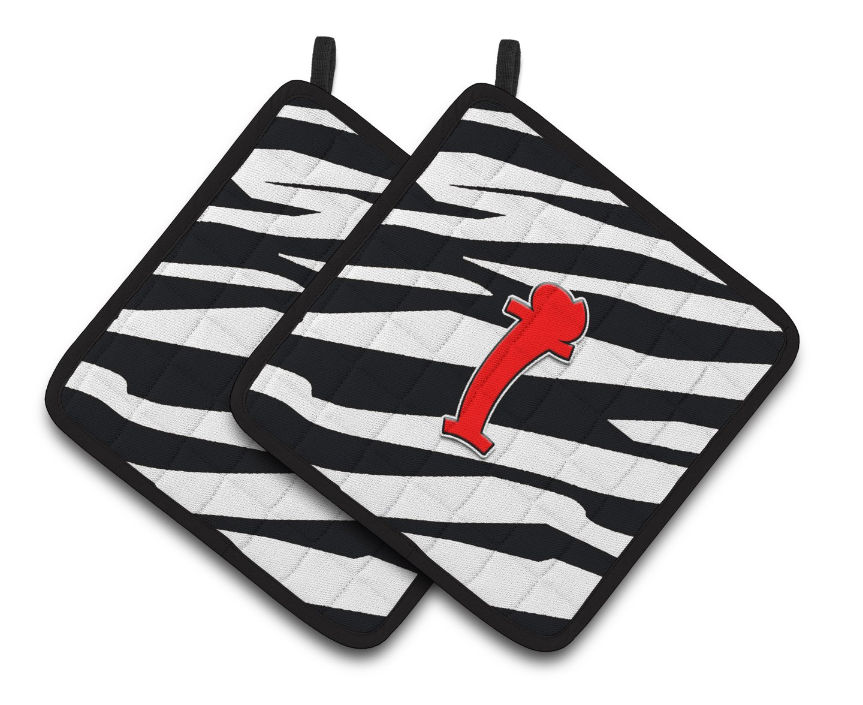 Multicolor 7.5HX7.5W Carolines Treasures Monogram Initial I Zebra Red Pair of Pot Holders CJ1024-IPTHD