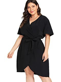 780d57a7a5f Milumia Women s Plus Size Short Sleeve Casual Wrap V Neck Belted Curved Hem  Surplice Dress