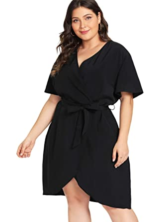 1b63503e545 Milumia Women s Plus Size Short Sleeve Casual Wrap V Neck Belted Curved Hem  Surplice Dress Black