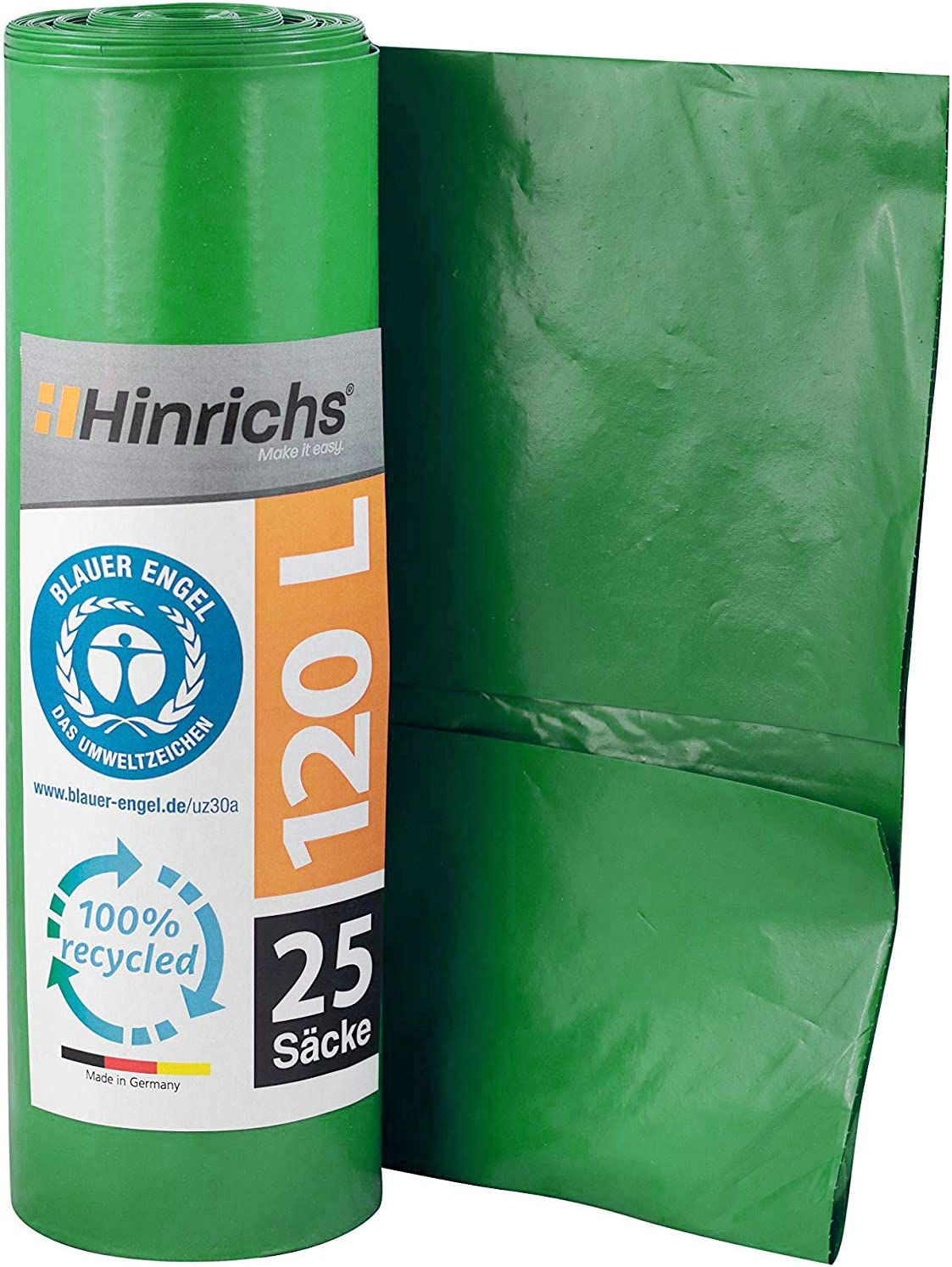Hinrichs Bolsas de basura 120 l - gran resistencia al desgarro - rollo de 25 - Tipo 100 extra - Sacos de basura XXL bolsas de basura - 70 ? - 700 x 1.100 mm - LDPE - verde
