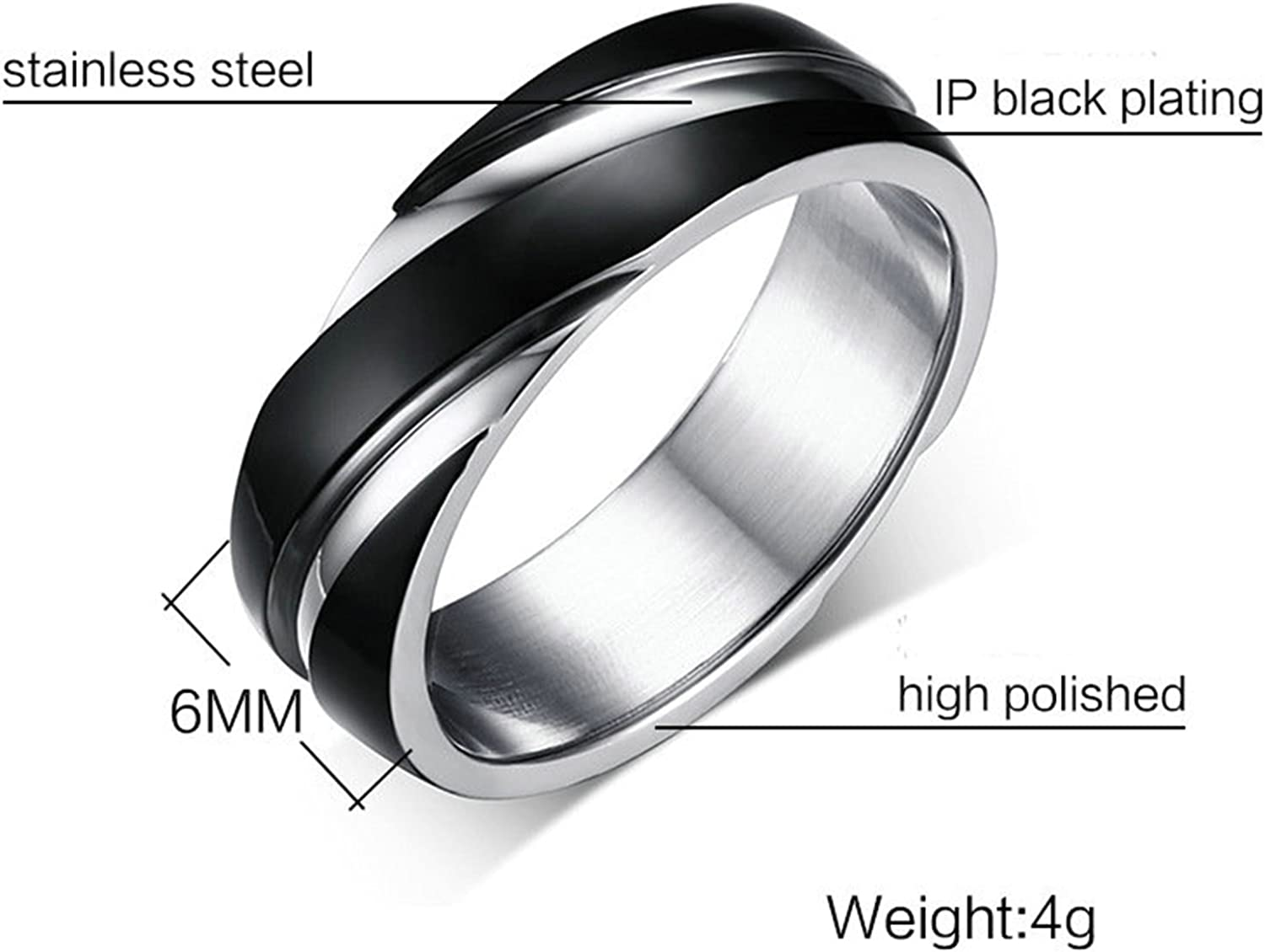 BISHILIN Men Women Stainless Steel Gold Plated Double Cross Gorgeous Fashion Polished Wedding Band Ring
