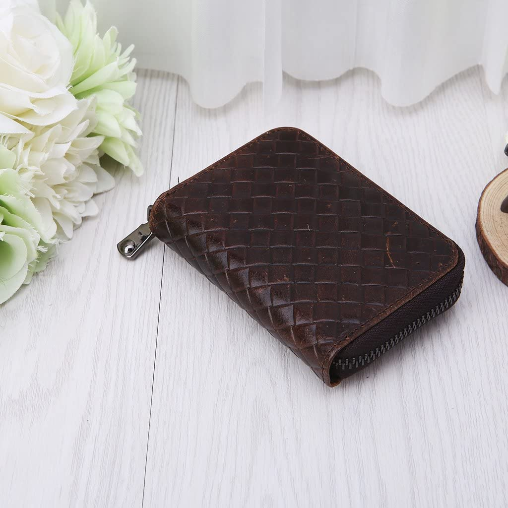 ShapeW Male Oil Wax Leather Card Package Retro woven Passport Business Cards Holder New