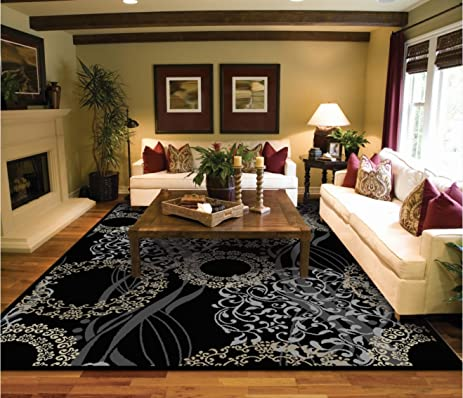 Amazon.com: Luxutry Modern Rugs for Living Dining Room Black Cream ...