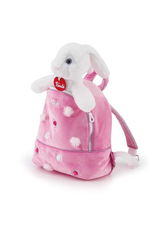 Trudi Rabbitバックパックピンクぬいぐるみバックパック、ホワイト、S 29718   B07GS1ZZDG