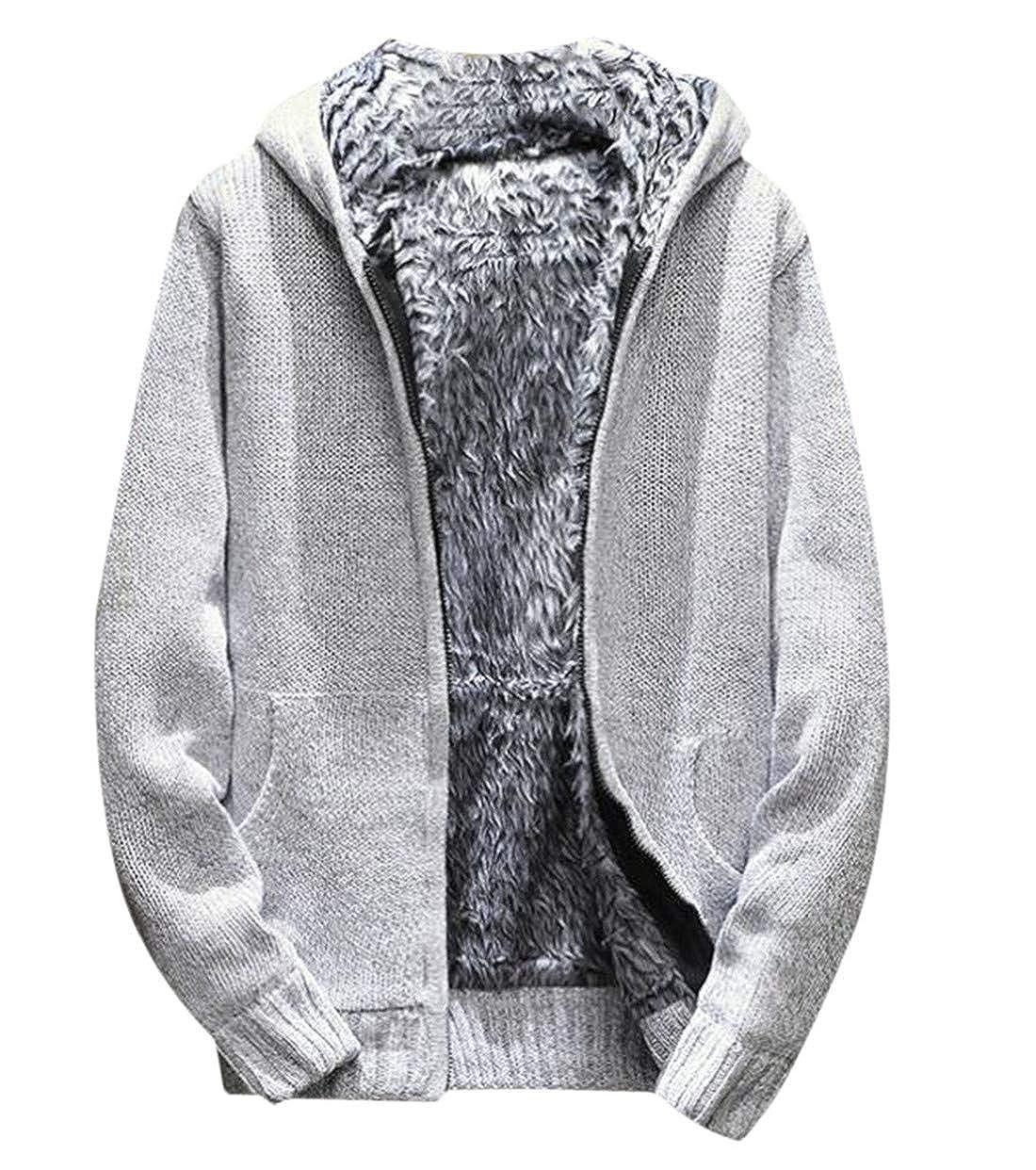 GRMO Men Winter Outwear Thicken Fleece Lined Knit Hooded Cardigan Coat