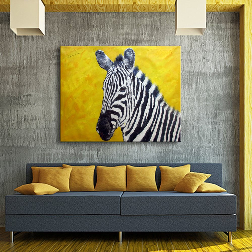 Amazon.com: 0594 Art Canvas Wall Art Large Animal Zebra Oil Painting ...