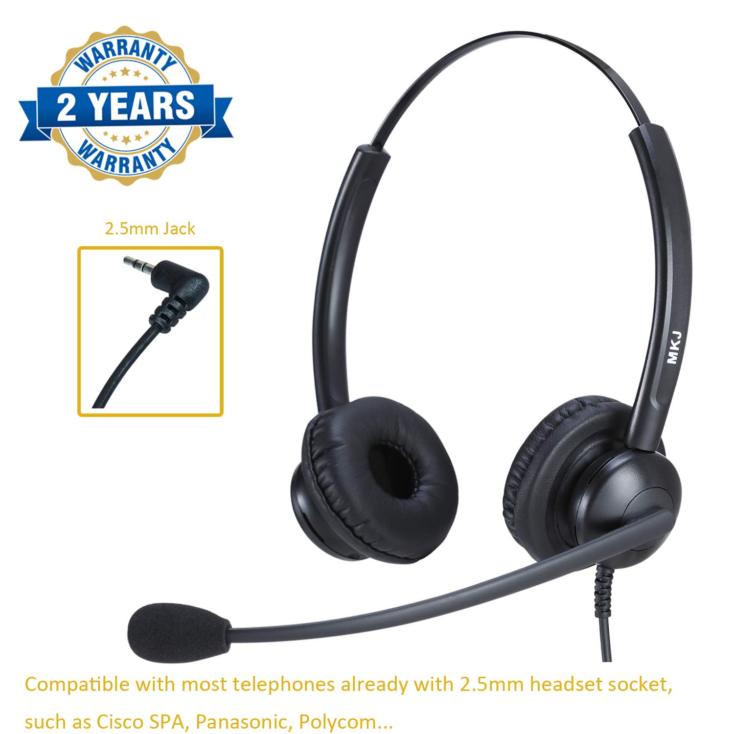 Corded 2.5mm Headset with Microphone Dual Ear Office Phone Headset for Cisco Linksys SPA Polycom Panasonic & Gigaset and Cordless Dect Phones by MKJ