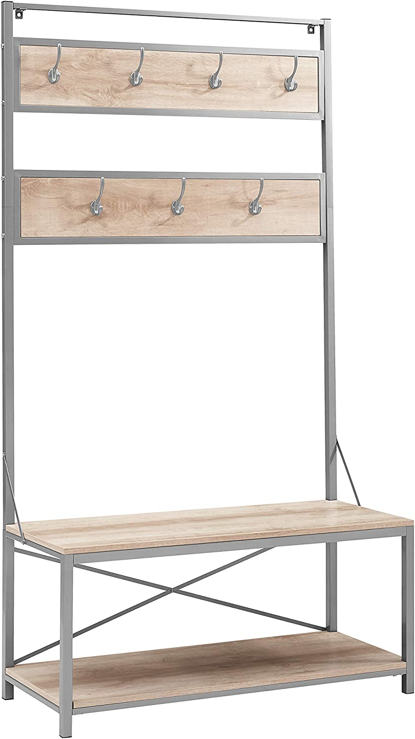 WE Furniture Farmhouse Entry Bench Mudroom Hall Tree Storage Shelf Coat Rack 72 Inch White Oak