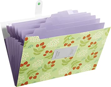 GREEN Skydue Floral Printed Accordion Document File Folder Expanding Letter Organizer