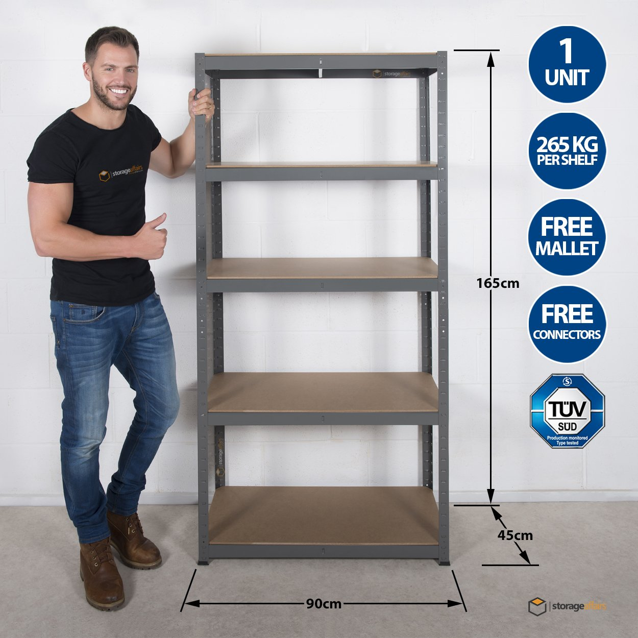 Garage Shelving Unit 5Tier EXTRA HD - 165 High, 90 Wide, 45 Deep (cm) 265kg Per Shelf 1.2mm Thick Frame Storage Affairs
