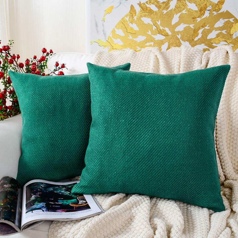 MERNETTE New Year/Christmas Decorations Chenille Soft Decorative Square Throw Pillow Cover Cushion Covers Pillowcase, Home Decor for Party/Xmas 16x16 Inch/40x40 cm, Pine Green, Set of 2