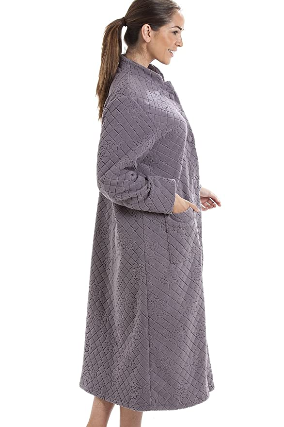 Camille Gray Soft Fleece Floral Full Length Button Up Housecoat at Amazon Womens Clothing store: