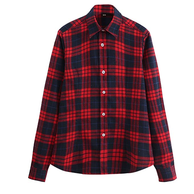 Rosie the Riveter Costume & Outfit Ideas Cekaso Womens Gingham Shirt Cotton Slim Fit Long Sleeve Button Up Plaid Shirt $24.99 AT vintagedancer.com