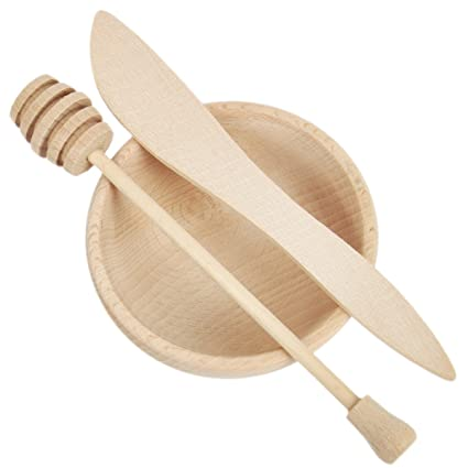 3teilig miel dispensador de madera cuchara de miel miel de cubertería Buffet Vajilla