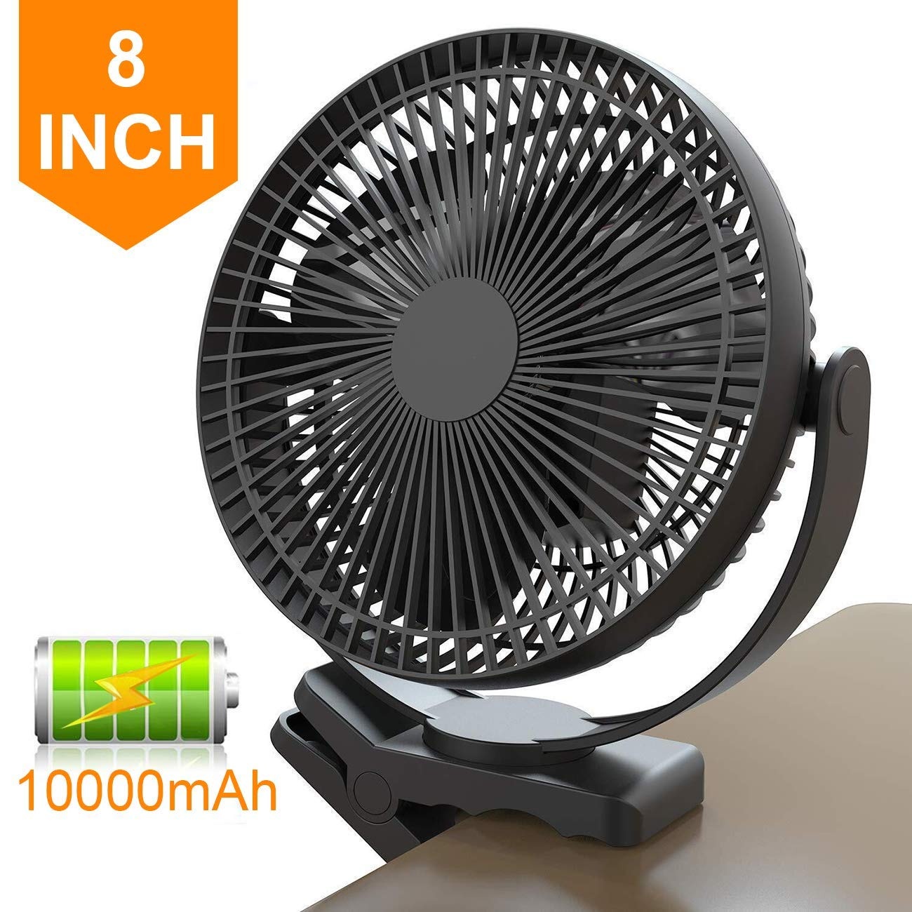 8 Inch Battery Operated Clip on Fan, 10000mAh Rechargeable Fan for Baby, 4 Speeds & 10W Fast Charging, Portable Cooling USB Fan for Baby Stroller Golf Cart Car Gym Treadmill,2 in 1 Desk&Clip Fan-Black