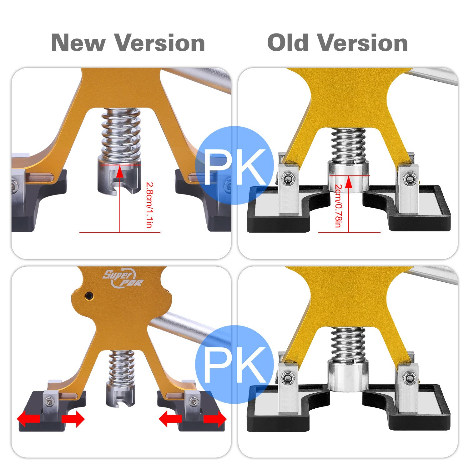 Fly5D Car Door Dent Remover Auto Ding Puller Golden Dent Lifter With 21 Pieces PDR Glue Tabs by Fly5D (Image #4)