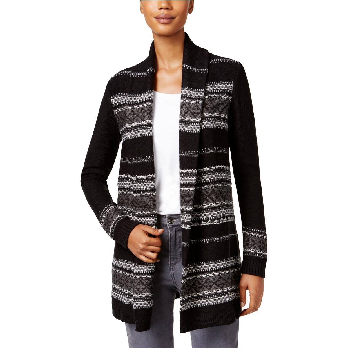 Style & Co. Womens Petites Jacquard Open Front Cardigan Sweater B/W PL