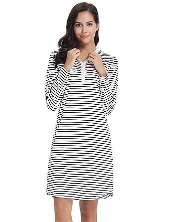 professionnel de la vente à chaud profiter du meilleur prix check-out Aibrou Chemise de Nuit Femme 100% Cotton Manche Longue Nuisette Vêtement de  Nuit avec Bouton Pyjama Hiver Col V Robe de Nuit Pyjama