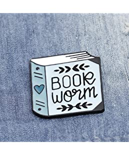 shlutesoy Women English Letter Book Worm Badge Brooch Pin Clothes Jewelry Decor Blue