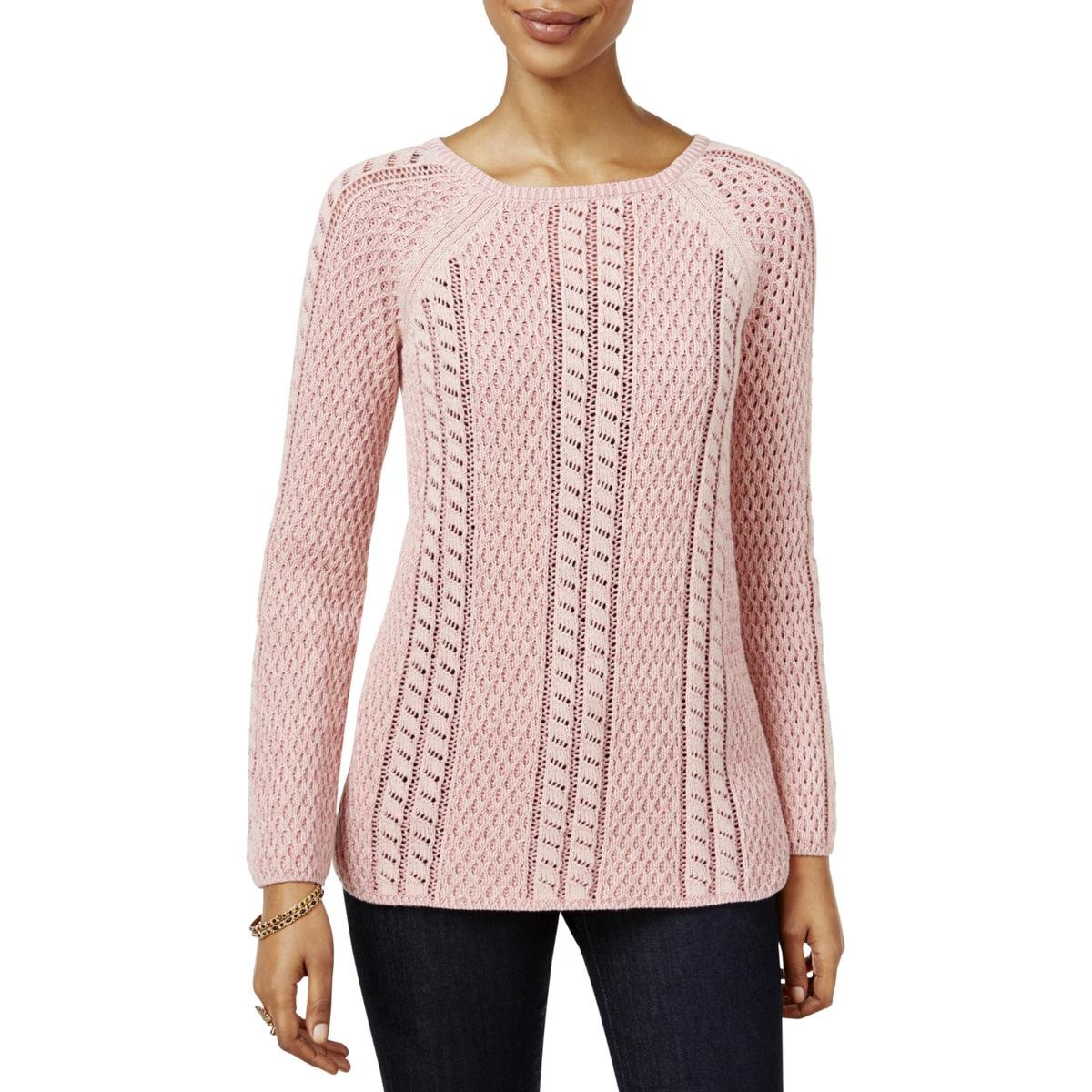 Style & Co.. Womens Petites Knit Long Sleeves Pullover Sweater Pink PM
