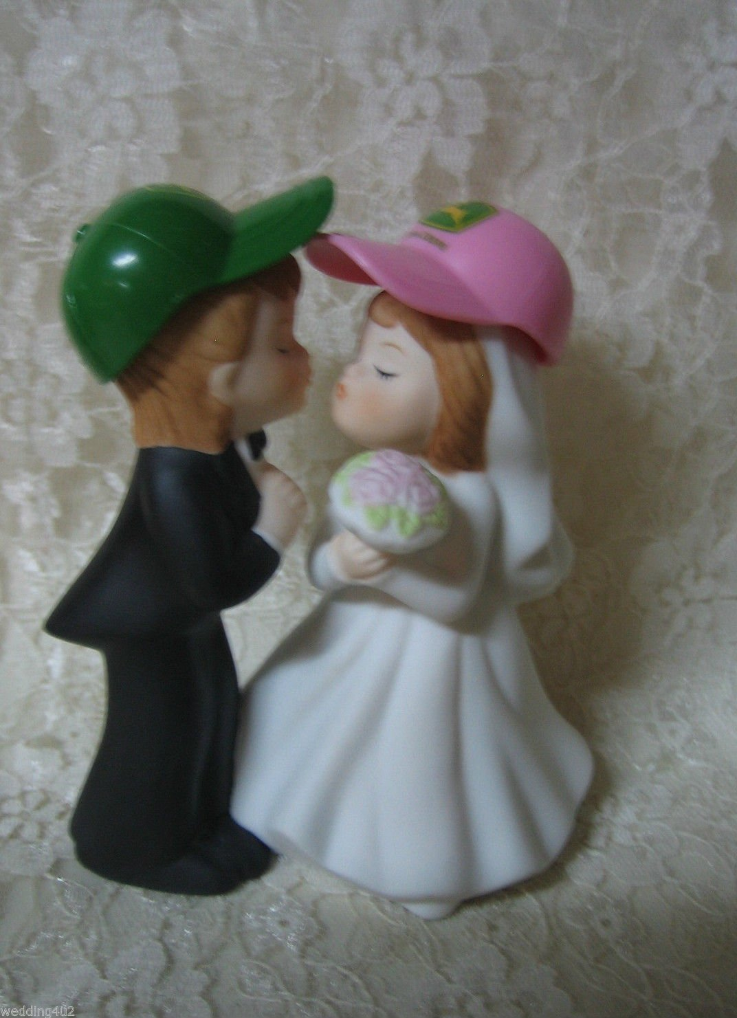 Wedding Farmer John Rancher Kissing Bride & Groom Cake Topper